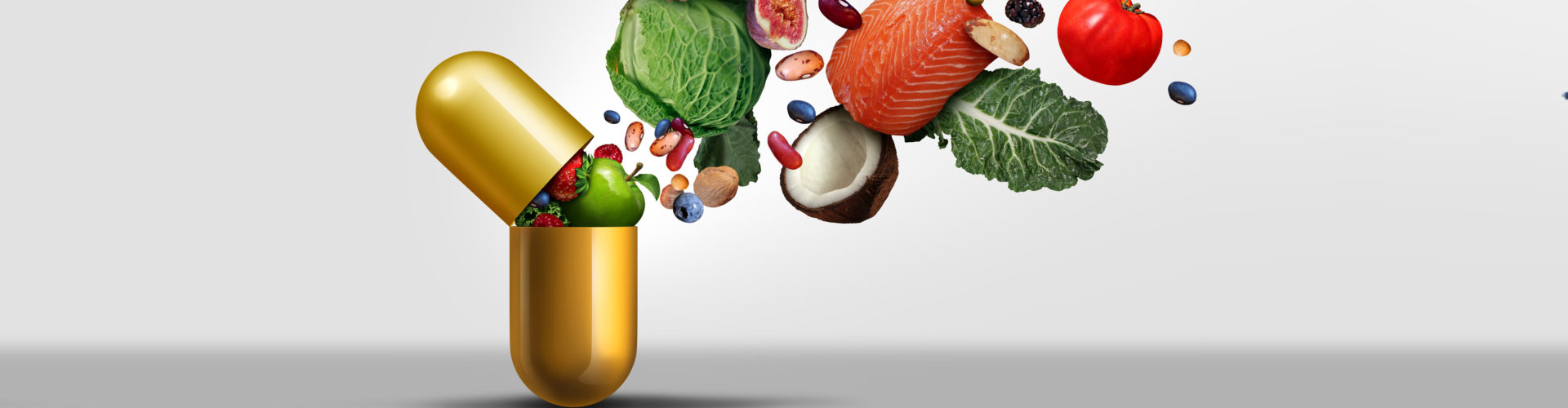 Vitamins supplements as a capsule with fruit vegetables